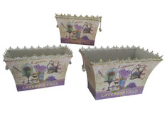 French country planters rectangular vintage painted metal decorative vases & flower pots by Dolce Mela (set of 3)