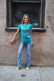 Blow Pop Up Up & Away Womens T-Shirt by Junk Food Clothing in Emerald