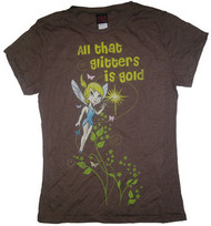 Tinkerbell All That Glitters Juniors Vintage Tee Shirt in Brown