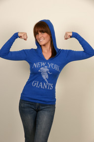 NFL New York Giants V-Neck Lightweight Womens Hoodie by Junk Food Clothing