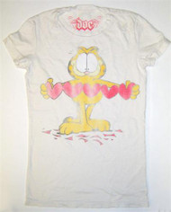 Garfield Paper Hearts Cut Out Vintage Juniors T-Shirt by Doe