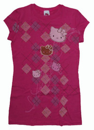 Hello Kitty Argyle Design Girly Vintage T-Shirt by Mighty Fine