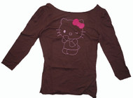 Hello Kitty Embroidered Girly Vintage Long Sleeve T-Shirt in Chocolate by Doe