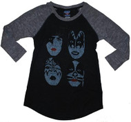 Kiss Faces Overdye Heathered Womens Raglan T-Shirt by Junk Food Clothing