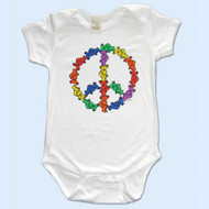 GRATEFUL DEAD White Organic Cotton 12 & 18 Month Romper with Peace
