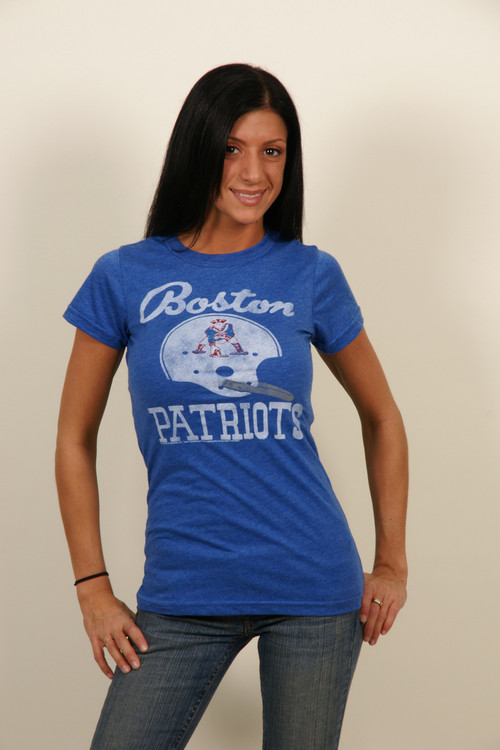 Boston patriots womens t shirt in blue by junk food for Patriots t shirts for women