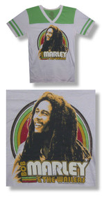 Bob Marley Catch A Fire Football Style Junior Baby Doll T Shirt