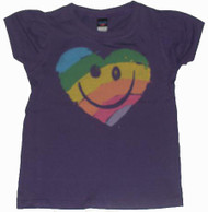 Smiley Face Heart Kids T-Shirt in Purple by Junk Food Clothing