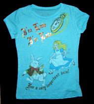 Alice in Wonderland I'm Late Vintage Style Girls Tee Shirt