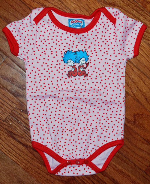 Dr Seuss Thing 1 Thing 2 Pink Dot Baby Bodysuit