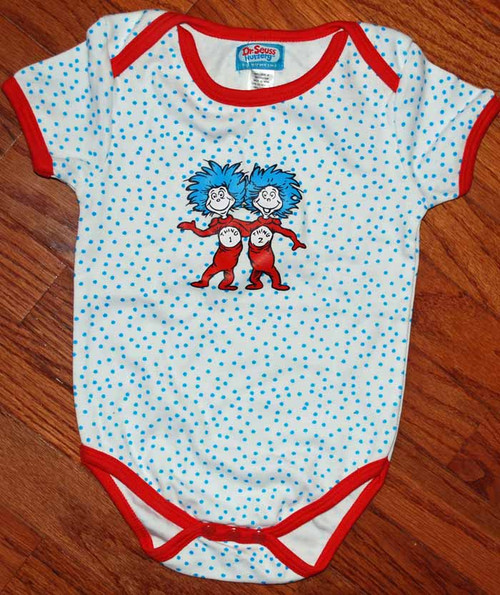 Dr Seuss Thing 1 Thing 2 White Dot Baby Bodysuit