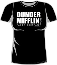 The Office Dunder Mifflin Logo Black Juniors Tee Shirt
