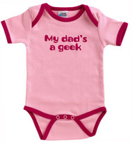 Urban Smalls My Dad's Geek Pink Infant Bodysuit