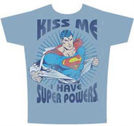 Kiss Me I Have Super Powers Superman Mens Tee Shirt
