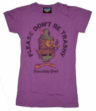 Woodsy Owl Womens Don't Be Trashy Tee Shirt by Junk Food Clothing