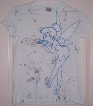 Disney Tinkerbell Paint Splatter Vintage Style Juniors Tee Shirt in Light Blue