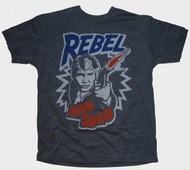 Junk Food Mens Star Wars Hans Solo Rebel Tri Blend Tee Shirt