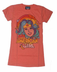 Wonder Woman All American Girl Womens Tee Shirt in Papaya by Junk Food Clothing