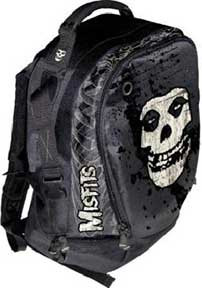 MISFITS SKULL PRINT BLACK NYLON BACKPACK