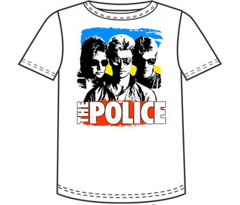 The Police Color Block White Mens Tee Shirt