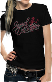 SOCIAL DISTORTION SKELLY SCRIPT JUNIORS TEE SHIRT