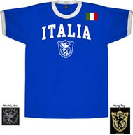 Italy World Cup Soccer Mens Ringer Tee Shirt