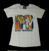 MTV Color Logo Burnout Womens Tee Shirt by Junk Food Clothing