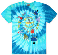 The Beatles Yellow Submarine Spiral Tie Dye Mens Tee Shirt
