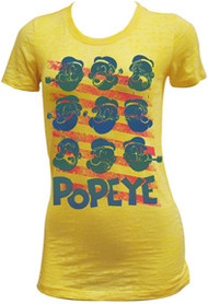 Popeye Banana Creme Burnout Montage Juniors Tee Shirt