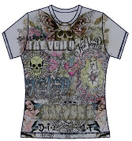 Kat Von D Juniors Collage Vintage Style T Shirt