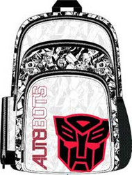 TRANSFORMERS AUTOBOTS BLACK AND WHITE BACKPACK