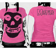 The Misfits Black Skull on Pink Juniors Tee Shirt