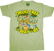 TEENAGE MUTANT NINJA TURTLES DRUG FREE MENS TEE SHIRT