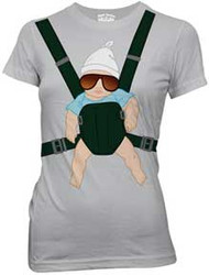 The Hangover Baby Carrier Juniors Tee Shirt