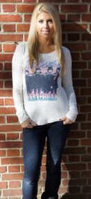 Junk Food The Beatles Distressed Thermal Long Sleeve Womens Shirt