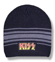 Kiss Black & Gray Striped Beanie