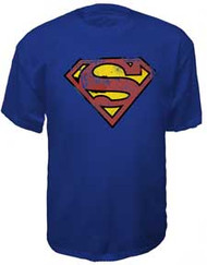 Vintage Style Superman Distressed Logo Mens Tee Shirt