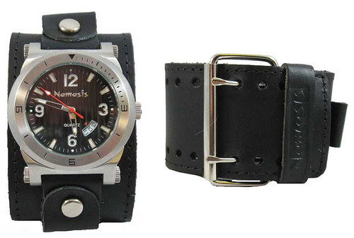 Nemesis Black Date Stamp Wide Leather Cuff Watch
