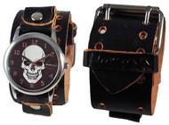 Nemesis Black Distressed Skull Leather Cuff Watch