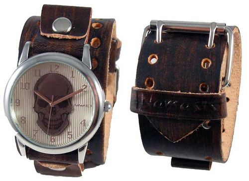 Nemesis Brown Distressed Skull Leather Cuff Watch