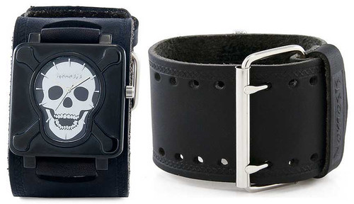 Nemesis Black Skull Plate Wide Leather Cuff Watch