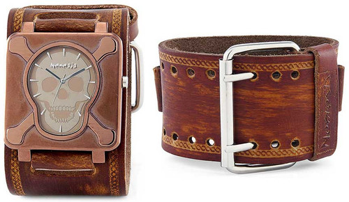 Nemesis Brown Skull Plate Wide Leather Cuff Watch