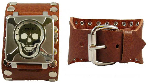 Nemesis Brown Stud Skull Plate Leather Cuff Watch