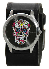 Nemesis Ladies Sugar Skull Black Cuff Watch
