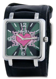 Nemesis Ladies Black Heart Face Cuff Watch