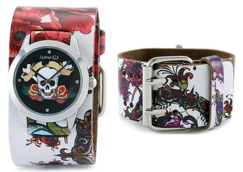 Nemesis Ladies Black Tattoo Skull Cuff Watch
