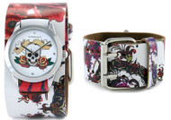 Nemesis Ladies White Tattoo Skull Cuff Watch
