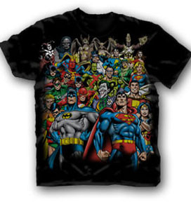 DC Comics Stacked Group Mens Retro Tee Shirt