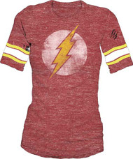 DC Comics The Flash Distressed Logo Juniors Raglan Tee Shirt