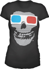 The Misfits 3D Glasses Black Juniors Tee Shirt